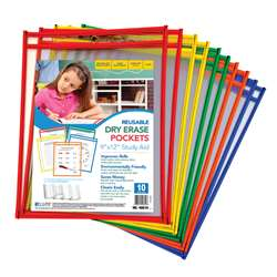 Reusable 10Pk 9X12 Dry Erase Pockets Assorted Primary By C-Line