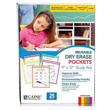 Reusable Dry Erase Pockets 25/Box By C-Line