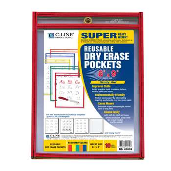Reusable 10Pk 6X9 Dry Erase Pockets Assorted Primary By C-Line