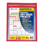 Reusable 10Pk 6X9 Dry Erase Pockets Assorted Neon By C-Line