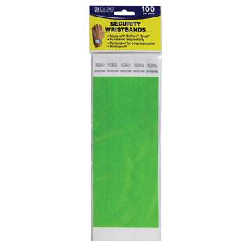 C Line Dupont Tyvek Green Security Wristbands 100Pk By C-Line