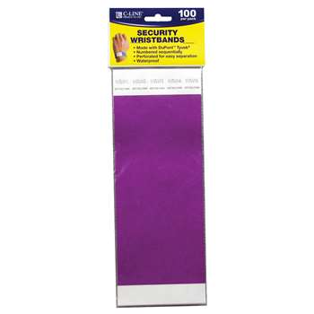 C Line Dupont Tyvek Purple Security Wristbands 100Pk By C-Line