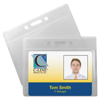 C Line Poly Id Badge Holders Horizontal 12 Pk By C-Line