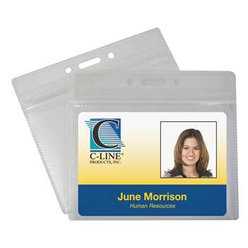 Zippered Badge Holders Horizontal 50Pk By C-Line