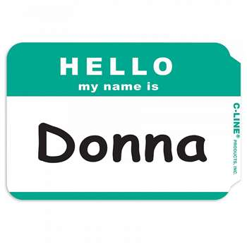C Line Self Adhesive Green Name Badges Hello Pack Of 100 By C-Line