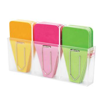 Solid Clip Tabs 24Pk Pink Green Orange, CRT109