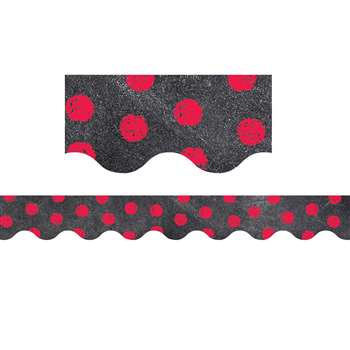 Poppy Red Dots On Chalkboard Border, CTP0209