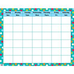 Dots On Turquoise Calendar Chart By Creative Teaching Press
