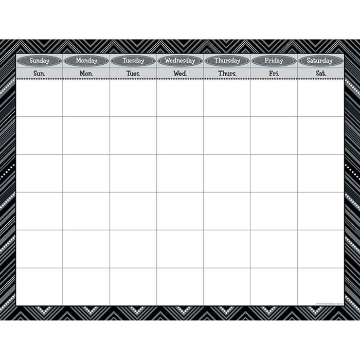 Black And White Calendar Chart By Creative Teaching Press