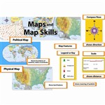 Maps & Map Skills Mini Bulletin Board Set Gr 3-5 By Creative Teaching Press