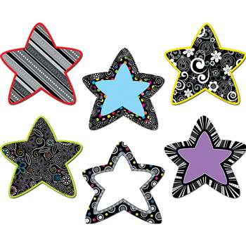 Black And White Stars 6In Designer Cut Outs By Creative Teaching Press