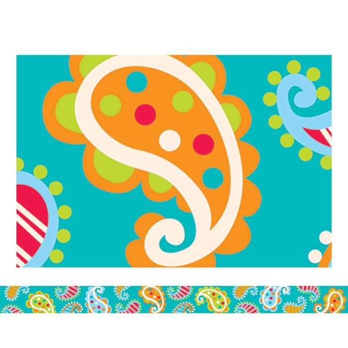 Paisley On Turquoise Border By Creative Teaching Press