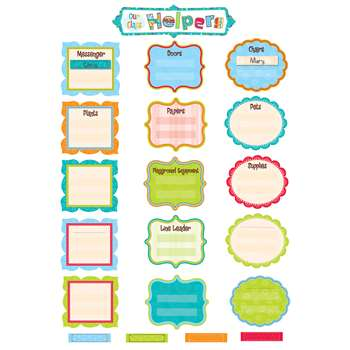 Our Class Helpers Dots On Turquoise Mini Bulletin Board Set By Creative Teaching Press