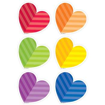 "Rainbow Hearts 3"" Cutouts, CTP8081"
