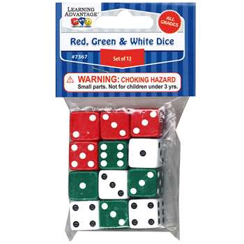 Red Green & White Dot Dice 12/Pk, CTU7367