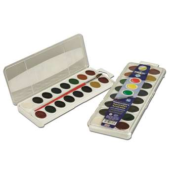 16 Washable Water Color Set W/Brush By Dixon Ticonderoga