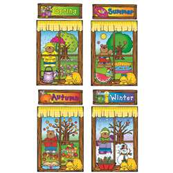Four Seasons Windows Bulletin Board Set Set By Carson Dellosa