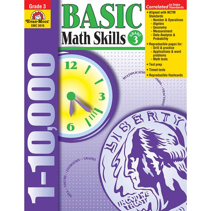 Basic Math Skills Grade 3 By Evan-Moor