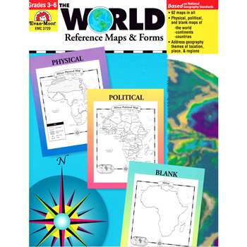The World Reference Maps & Forms Gr 3-6 By Evan-Moor