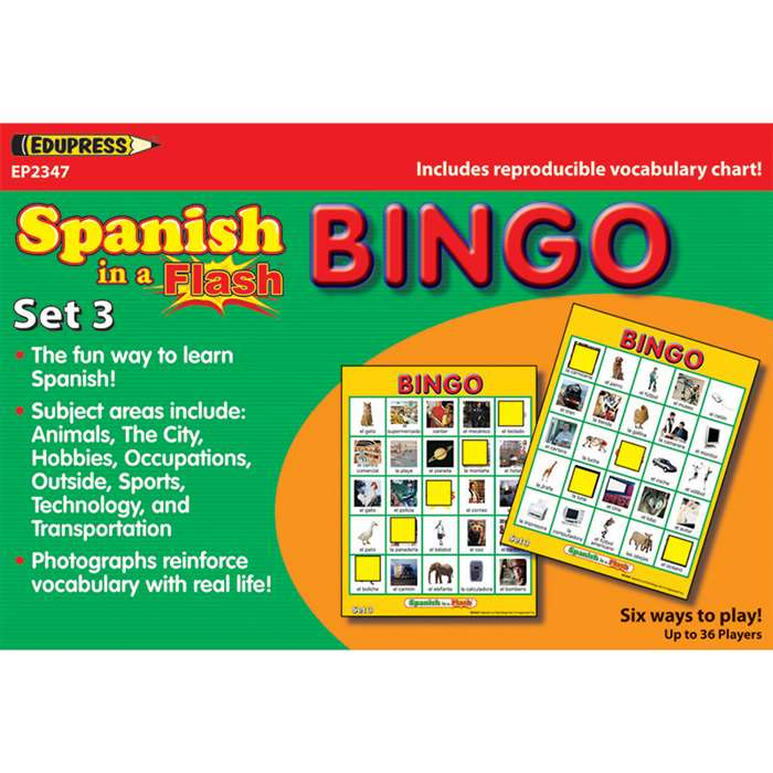 Spanish In A Flash Bingo Set 3 By Edupress