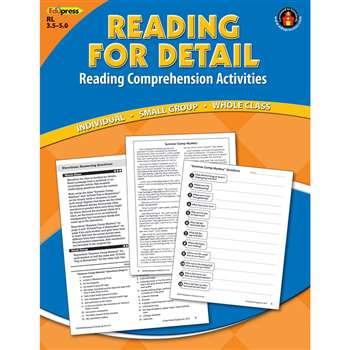Reading Detail Comprehension Bk Blue Level By Edupress