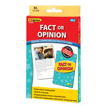 Shop Fact Or Opinion Ylw Lvl Reading Comprehension Practice Cards - Ep-2987 By Edupress