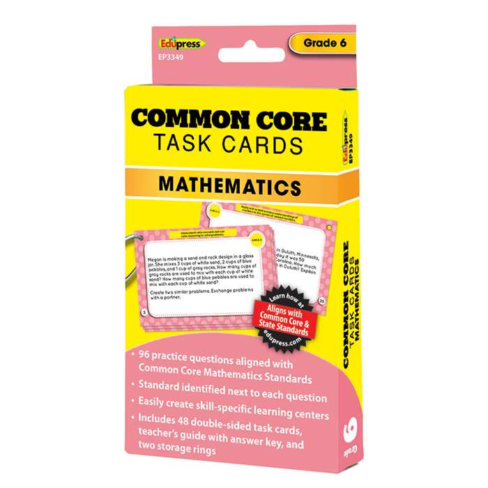 Shop Common Core Math Task Cards Gr 6 - Ep-3349 By Edupress
