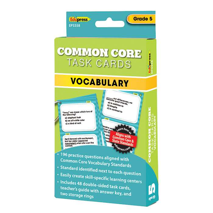 Shop Gr 5 Common Core Vocabulary Task Cards - Ep-3358 By Edupress