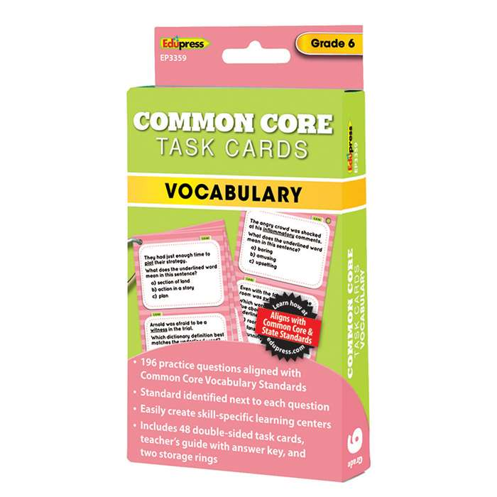 Shop Gr 6 Common Core Vocabulary Task Cards - Ep-3359 By Edupress