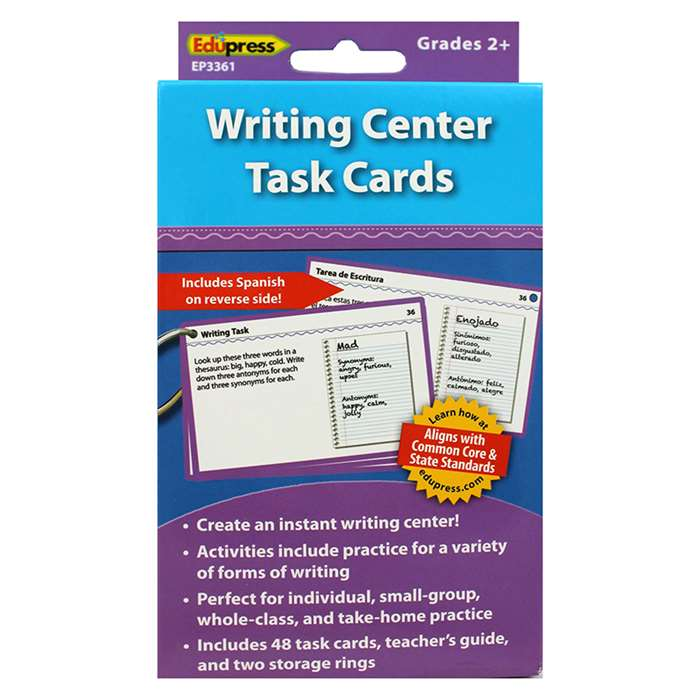 Writing Center Task Cards Gr 2 And Up By Edupress