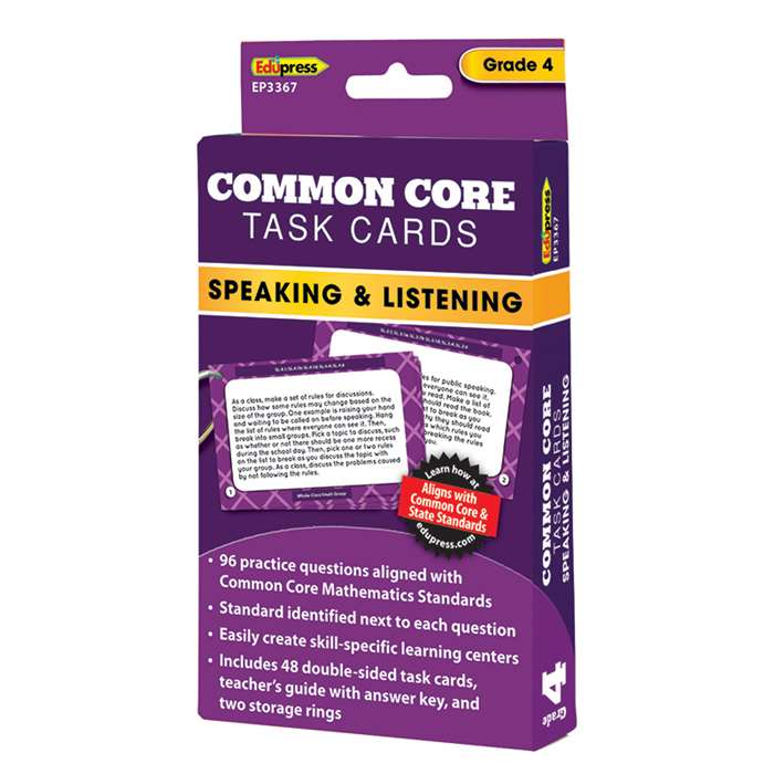 Common Core Task Cards Speaking & Listening Gr 4, EP-3367