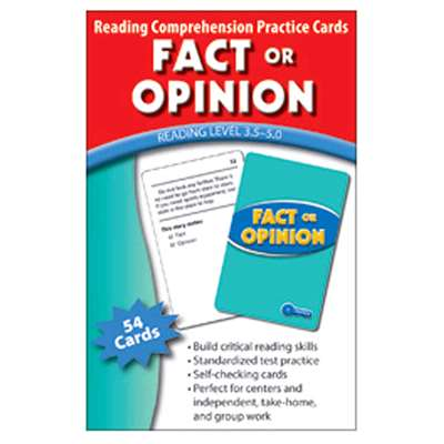 Fact Or Opinion Practice Cards Reading Levels 5.0-6.5 By Edupress