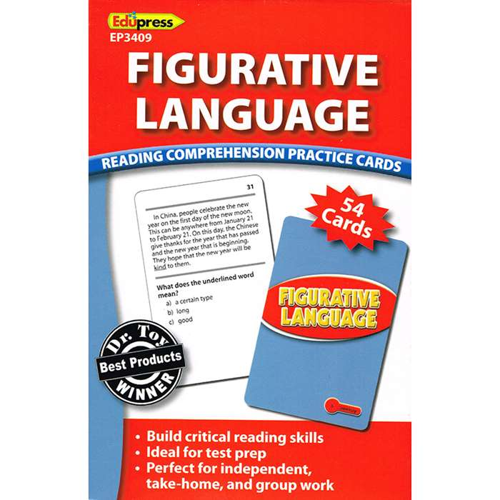 Figurative Language Reading Comprehension Practice Cards Red By Edupress