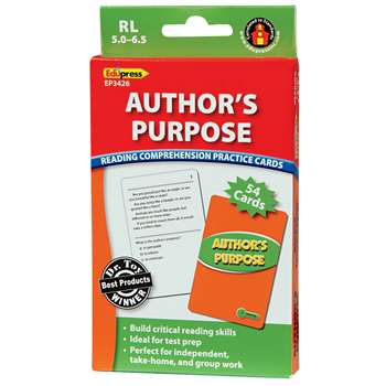 Authors Purpose Practice Cards, Green Level By Edupress