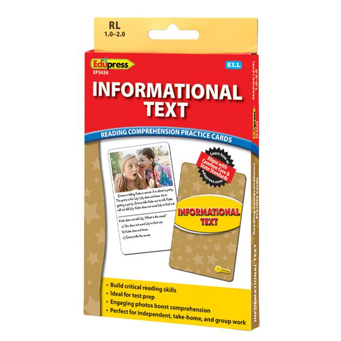 Shop Informational Text Ylw Lvl Reading Comprehension Practice Cards - Ep-3436 By Edupress