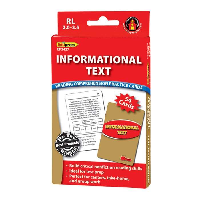 Shop Informational Text Red Lvl Reading Comprehension Practice Cards - Ep-3437 By Edupress