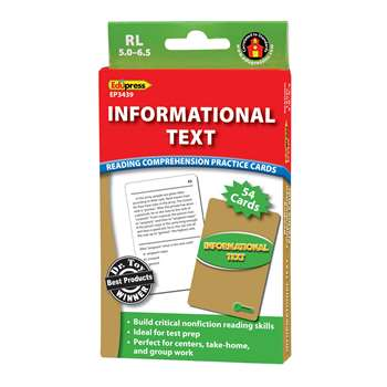 Shop Informational Text Grn Lvl Reading Comprehension Practice Cards - Ep-3439 By Edupress