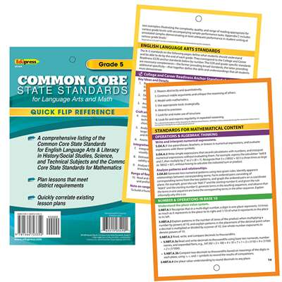 Gr 5 Quick Flip For Common Core Standards By Edupress