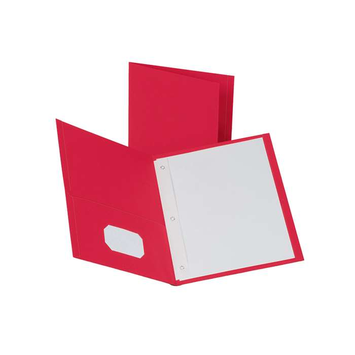 Oxford 25Ct Red Twin Pocket Folders With Fasteners By Esselte