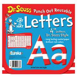 Dr Seuss 4 Inch Red & White Letters Punch Out Reusable By Eureka