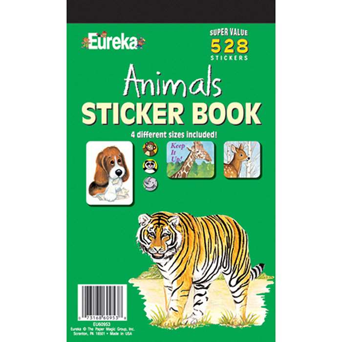 Sticker Book Animals 528/Pk By Eureka