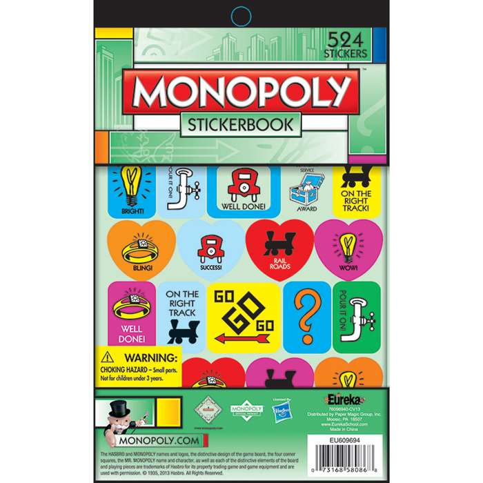 Monopoly Stickerbook By Eureka