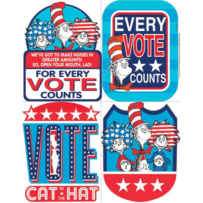 "Dr Seuss Cat "" The Hat For President Sticker Badg, EU-659581"