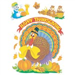 Window Cling Cute Animals 12 X 17 Thanksgiving By Eureka