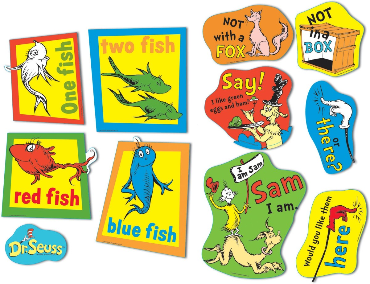 Large Dr Seuss Fish Fox And Sam 2 Sided Deco Kit by Eureka: Two Sided Decorations ...