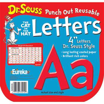 Dr Seuss Punch Out Reusable Red Letters 4In By Eureka
