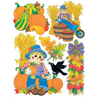 Window Cling Harvest Scarecrows By Eureka