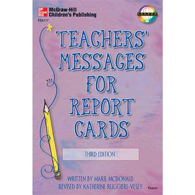 Teachers Messages For Report Cards Gr K-8 3Rd Edition By Frank Schaffer Publications