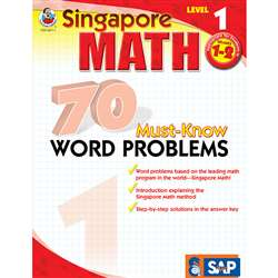 70 Must Know Word Problems Level 1 Gr 1-2 By Carson Dellosa