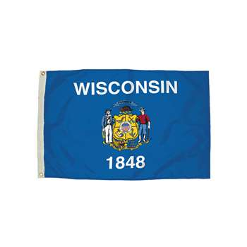 3X5 Nylon Wisconsin Flag Heading & Grommets, FZ-2482051